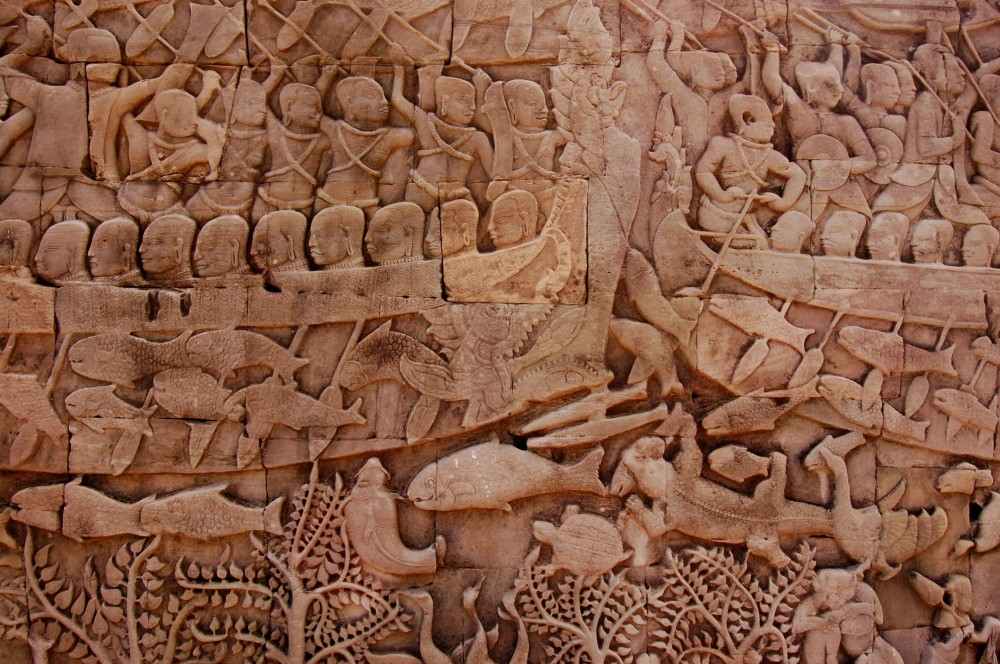 The painstaking detail of an Angkor bas-relief on full display at Bayon